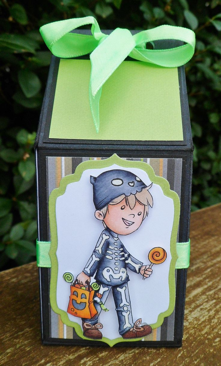 Milk carton treat box made using Crafty Sentiments Designs 'trick or treat' digi image.