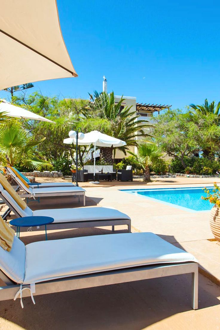 Relax next to pool at Iakinthi Villa in Stavros, Akrotiri, Chania #crete #voyage #inspiration #pool #relaxing #villa  #TheHotelgr