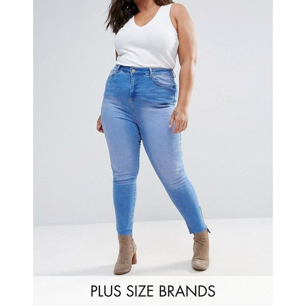 New Look Plus Raw Hem Skinny Jeans ($24) ❤ liked on Polyvore featuring plus size women's fashion, plus size clothing, plus size jeans, blue, plus size, super high rise skinny jeans, high waisted skinny jeans, high-waisted skinny jeans and tall skinny jeans