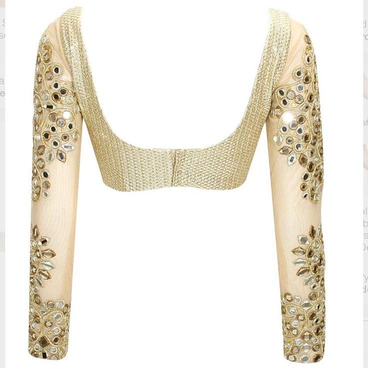 A cream and gold mirrorwork blouse via @perniaspopupshop