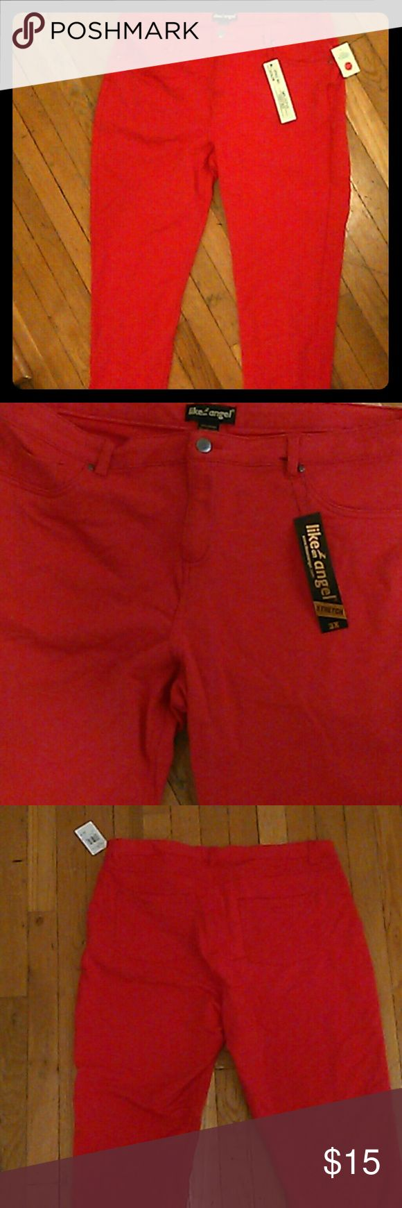 Plus size Like an Angel stretch pants. Fiery red plus size stretch pants. Nice booty lift. Brand new with tags like an Angel  Pants Skinny