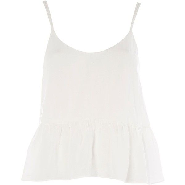 Topshop Casual Peplum Camisole Top (68 BRL) ❤ liked on Polyvore featuring tops, ivory, topshop tops, peplum tops, white cami top, white tops and viscose tops