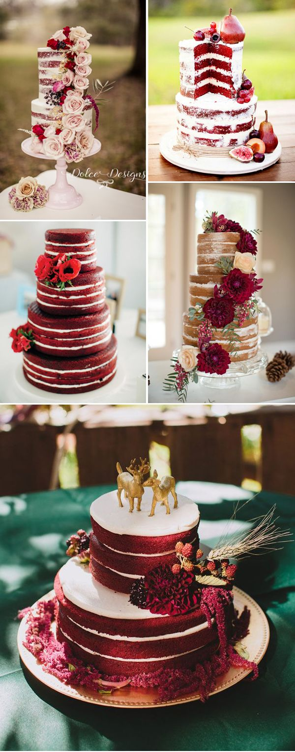 Naked Wedding Cakes For Marsala Weddings
