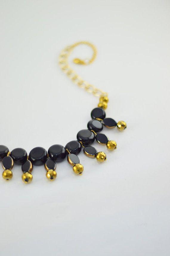FREE SHIPPING Black Stone Statement Necklace, Gold Plated Necklace, Beaded Jewelry, Boho Necklace, Gift For Her, Women Accessory