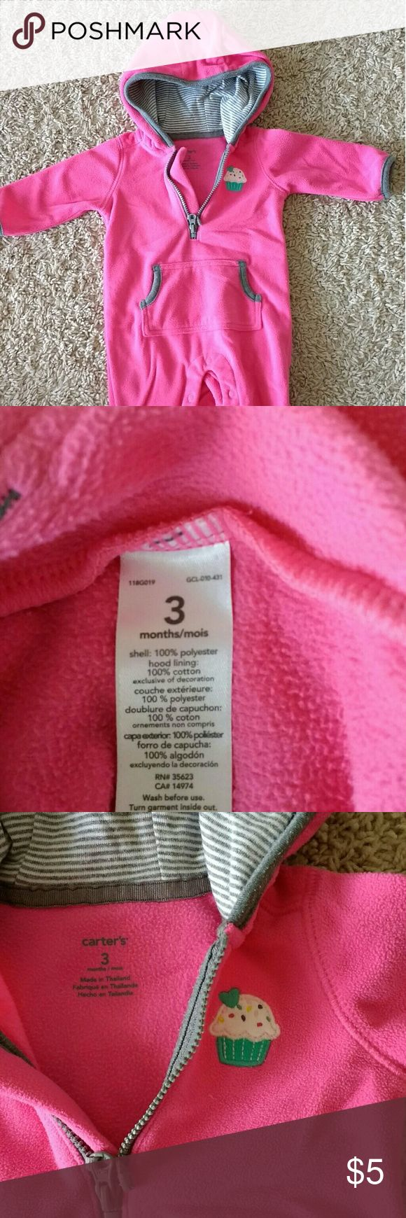 Carter's baby girl onesie 0-3 months Carter's baby girl onesie 0-3 months Bright pink color  No damage or stains, only normal wear Pet-free smoke-free home Carter's One Pieces