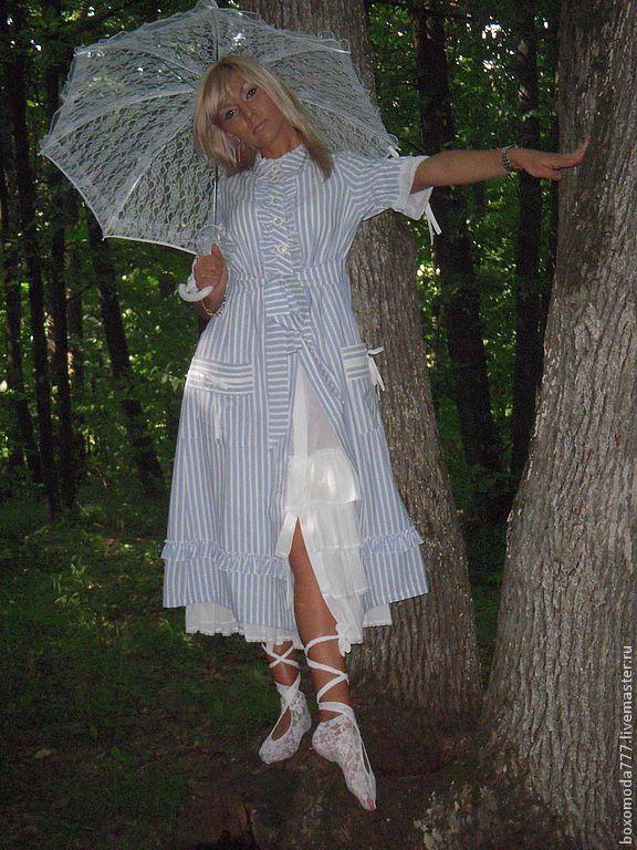Платья ручной работы. Ярмарка Мастеров - ручная работа. Купить Платье полосочка бохо. Handmade. Голубой, для девушек, платье, кнопки