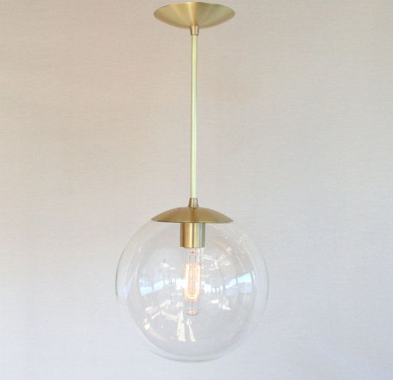 Mid century modern 10 globe pendant light by for Mid century modern globe pendant light