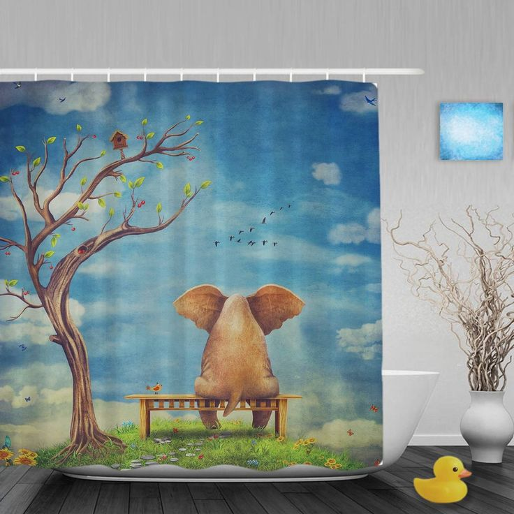 Cartoon Elephant's Back Decor Shower Cutains Blue Sky And Tree Decor Bathroom Curtains Polyester Waterproof Fabric With Hooks #Affiliate