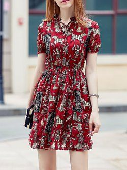 Stand Collar Short Sleeve Casual Printed Midi Dress
