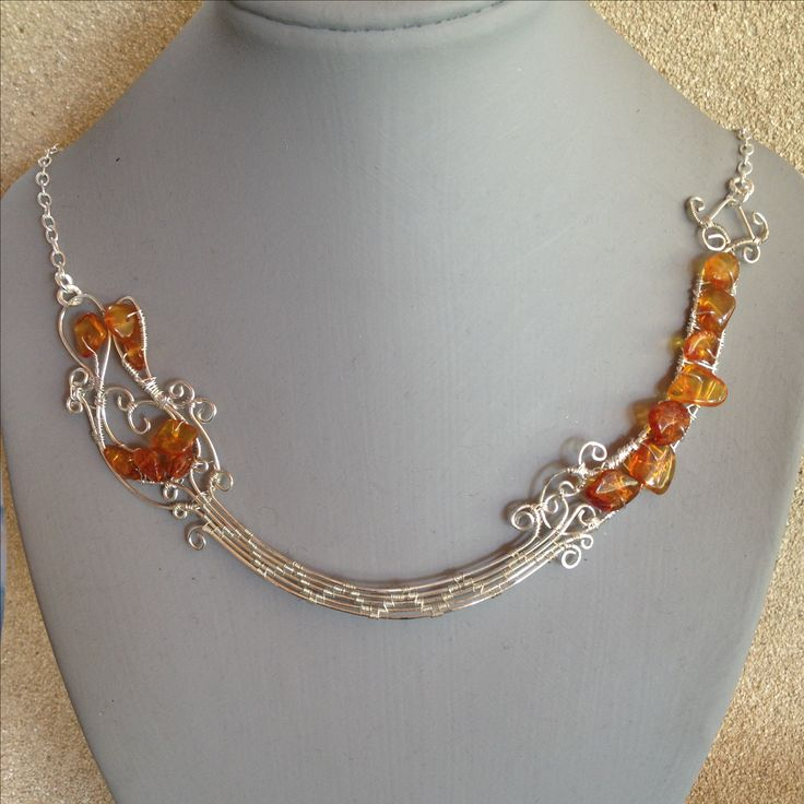 Silver plated Wire, with Amber