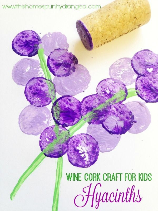 DIY Craft: These easy wine cork stamps for kids are perfect for spring crafts and making wine cork hyacinths like you see here.