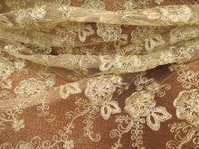 Ткани 5 ярд 120 см золотыми кружевами для свадебные платья африканский шнур гипюр кружевной сетки вышитые тюль AF0025(China (Mainland))