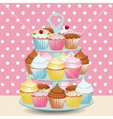 Decorated cupcakes vector on VectorStock®
