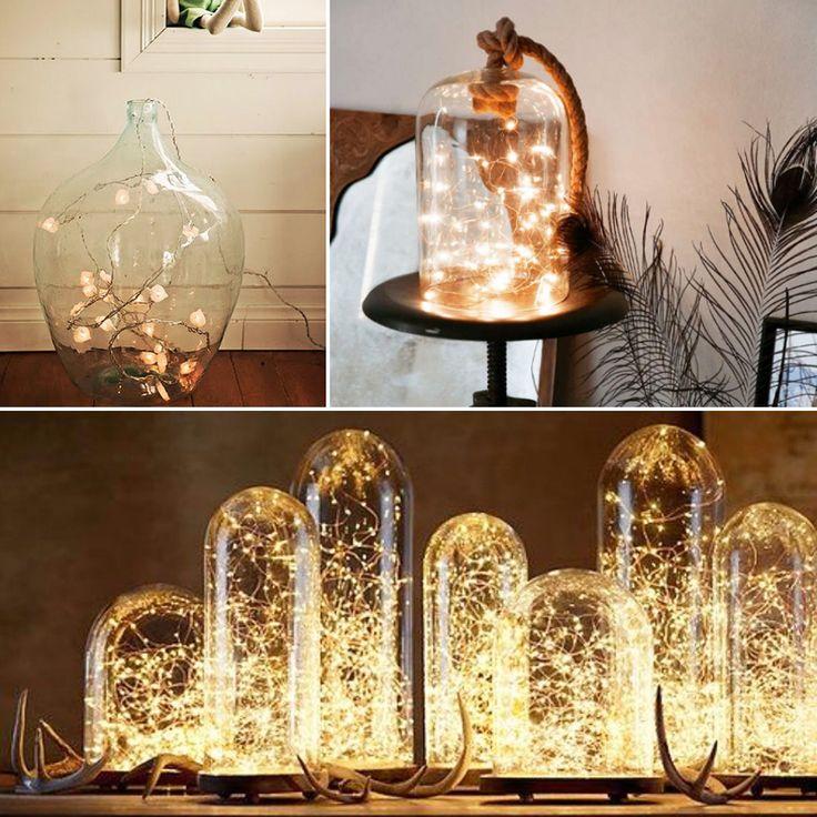 Украшение интерьера гирляндами: светящиеся фонари с гирляндой внутри
