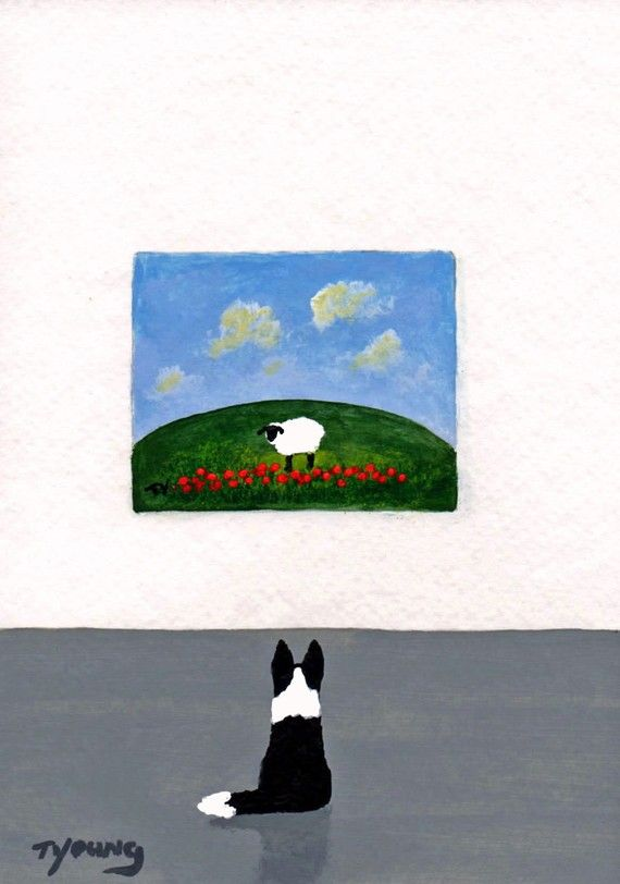 Border Collie Dog folk Art PRINT Todd Young by ToddYoungArt, $12.00