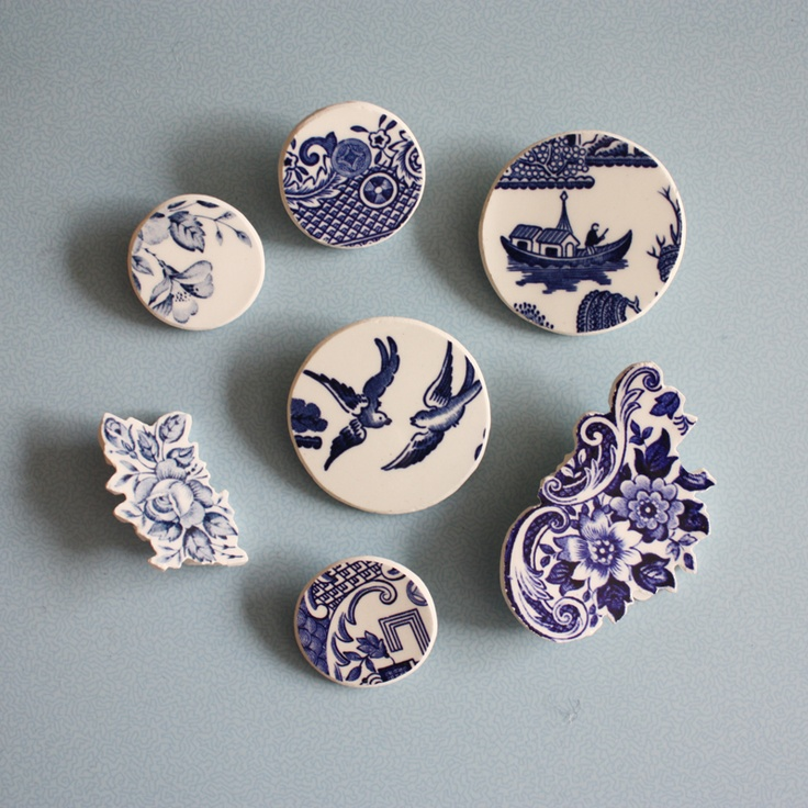 blue and white ceramic pin brooches.