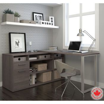 Bestar – Solay Gray L-Shape Desk
