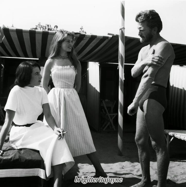Brigitte with Kirk Douglas and Silvana Mangano in Cannes, 1953
