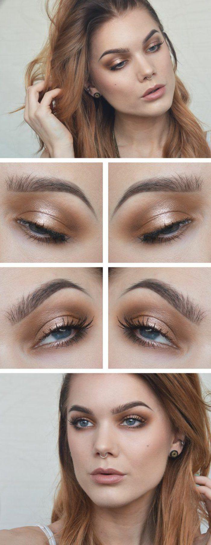 maquillage des yeux bleus, ombres à paupières marrons
