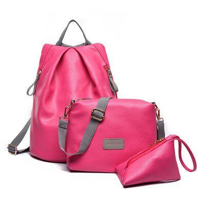 <b>3Pcs</b>/<b>Set</b> Mochila Feminina Leather Backpack+Shoulder Bag+Purse ...