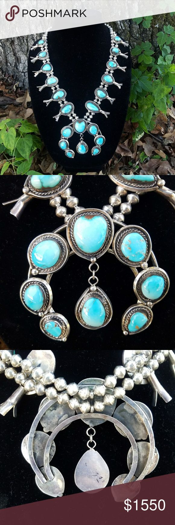 """Huge Old Pawn Sterling Squash Blossom Huge Old Pawn Sterling Silver Squash Blossom, #8 Turquoise, 215g, 28"""" long, naja 3.5""""x3.5""""  Follow me at 5D Western Vintage on IG, layaway available. Jewelry Necklaces"""