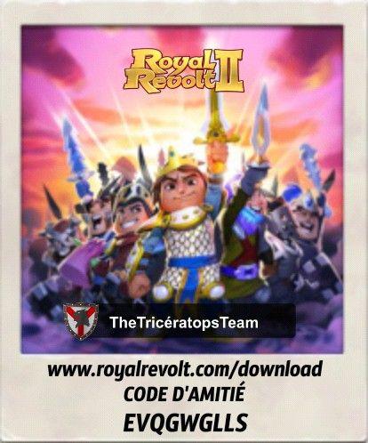 Menez votre armée vers la victoire et faites entrer votre royaume dans l'histoire! https://youtu.be/QWxj-qPPncY  Télécharge Royal Revolt 2 sur ton appareil mobile: www.royalrevolt.com/download    lance le jeu, et entre mon code d'amitié pour recevoir une récompense ÉPIQUE: EVQGWGLLS
