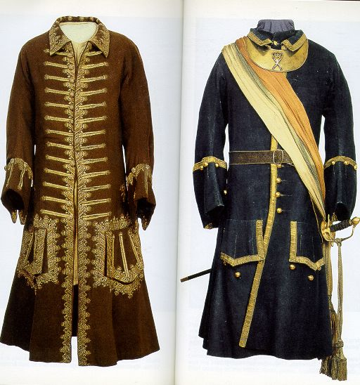 Coats of Peter the Great of Russia. Kaftan and full dress of a colonel in the Preobrazhensky Guards regiment. Early 18th century.