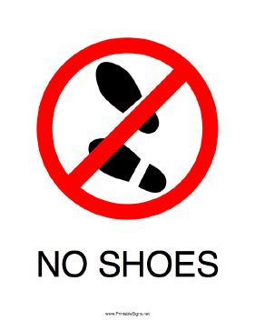 This printable sign encourages folks to take their shoes off here. Free to download and print