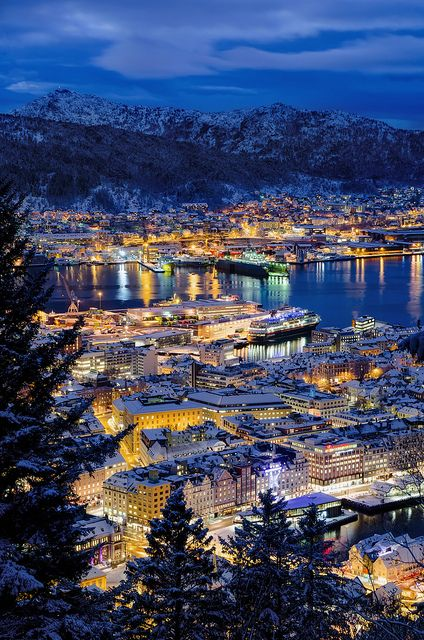 Blue hour in Bergen, Norway - we sailed away before experiencing this!