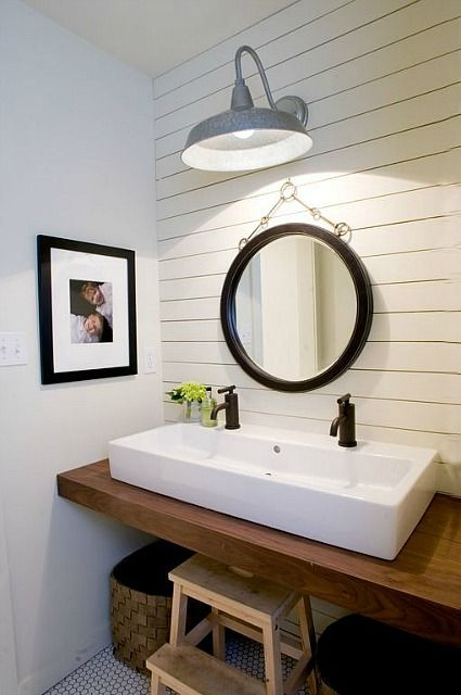 Industrial Lamp in the Bathroom of a Germantown, Tennessee home. Love idea for back bath.