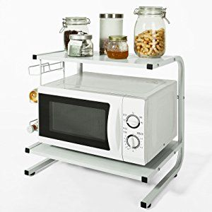 SoBuy® Mikrowellenhalter, Regal, Küchenregal, Miniregal,FRG092-W