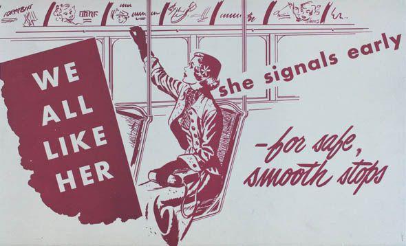 Vintage bus etiquette brochure