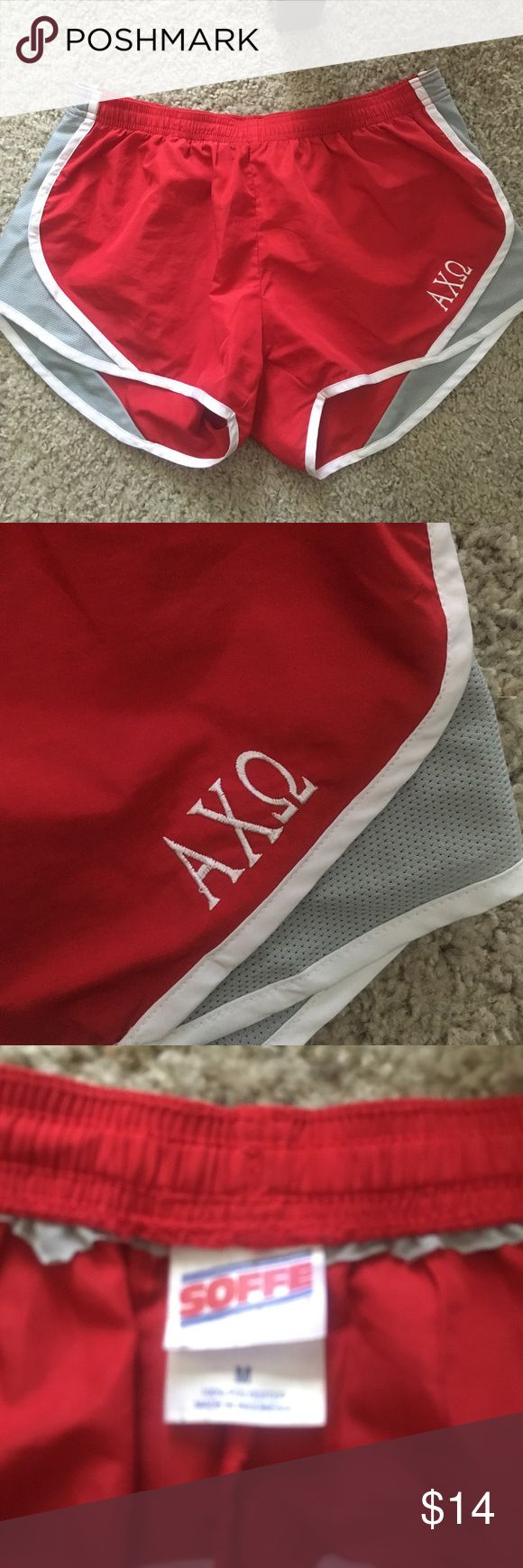 Alpha Chi Omega tempo running athletic shorts Great condition!!! No stains or rips. Underwear lining has been cut out (I didn't like the feeling). Alpha chi omega freak sorority AXO. Shorts
