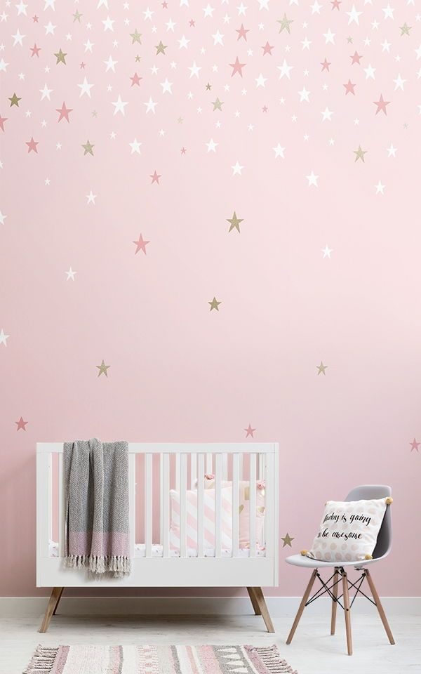 Falling Star Pink Wallpaper Mural In 2019 Ella Bedroom Ideas