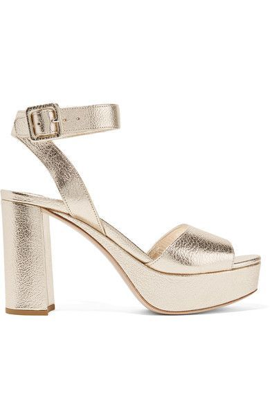 Miu Miu - Metallic Textured-leather Platform Sandals - Gold - IT38.5