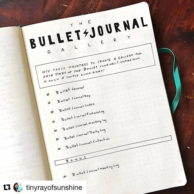 Need your help with this one guys! .#Repost @tinyrayofsunshine with @repostapp ・・・ Hello! There is so much lovely Bullet Journal inspiration out there and the biggest source is here on Instagram at over half a million photos, but the inspiration is getting lost and there's no easy way to find the different parts of the Bullet Journal. • Creating a Bullet Journal Gallery full of inspiration has been on my mind for a long time now and using hashtags here on Instagram to create a gallery for…