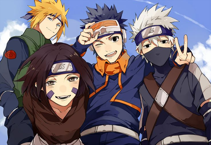 Team Minato.. Rin's nose looks weird but this is really cute