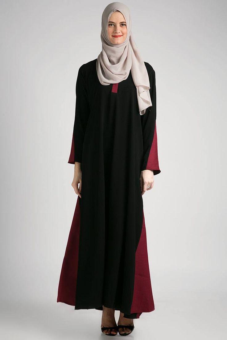 Sell ALMERIA ABAYA BLACK - MAROON DRESSES & JUMPSUIT | Berrybenka.com