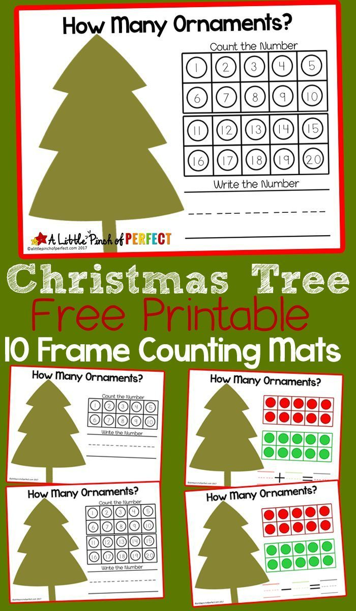 Christmas Tree 10 Frame Math Mats Free Printable Preschool Christmas Activities Christmas Math Printables Christmas Kindergarten