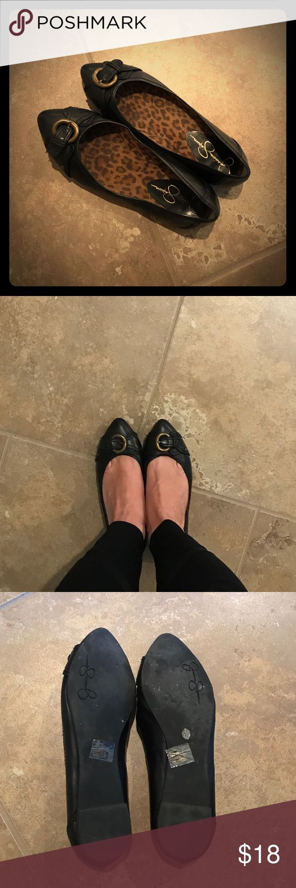 Jessica Simpson black flats Worn once Jessica Simpson black with gold buckle flats Jessica Simpson Shoes Flats & Loafers