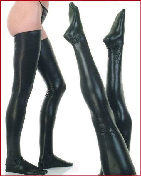 Black faux leather wet-look vinyl fetish stockings