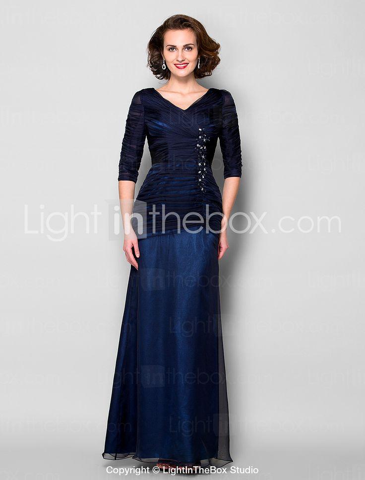 Sheath/Column V-neck Floor-length Chiffon Mother of the Bride Dress (1798949) - USD $ 119.99
