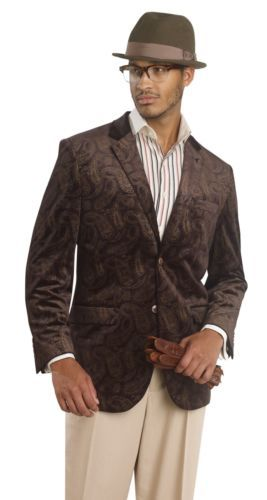Brown-Velvet-Men-Winter Print-Paisley-Blazer-Jacket-Mens-Top-J06-For-Mens-Suit-Wear Fall Holiday Gift best shop online website site