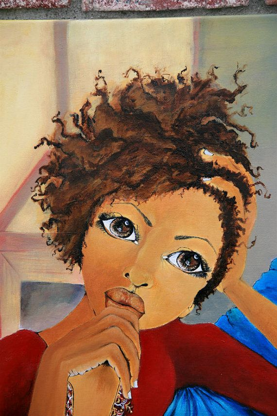 Black Art Thinking About Your Love by SalkisReArt on Etsy