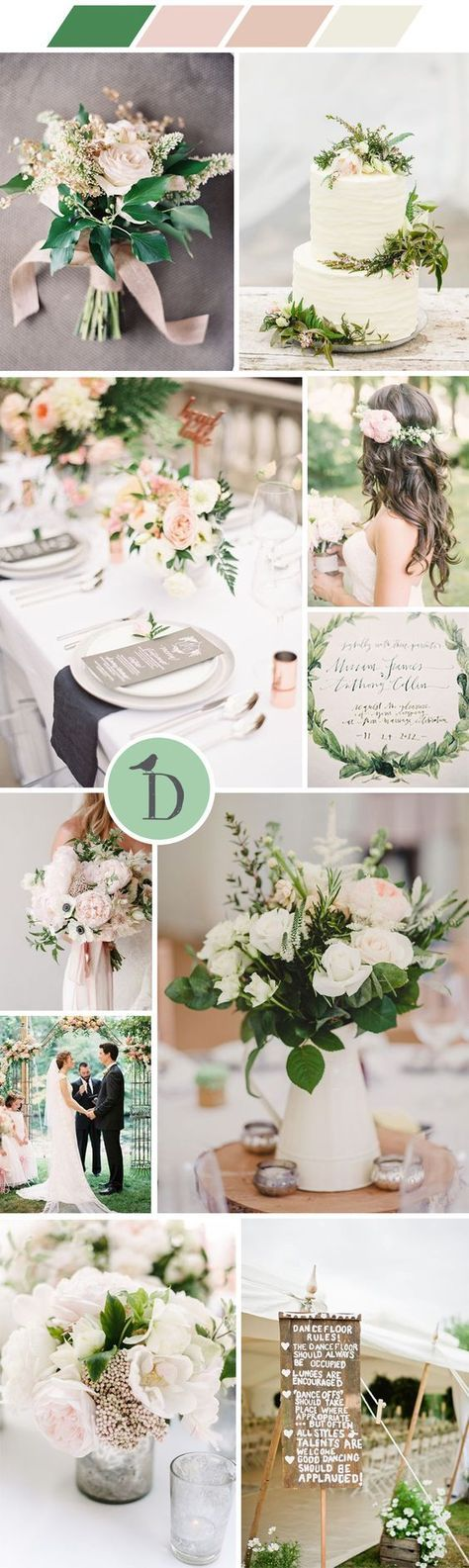 A blush, white, and green wedding color scheme is feminine, romantic, and chic. We love the soft colors and the simplicity of this scheme. Bringing in lots of greenery to your wedding decor is not just on trend, it's stylish, affordable and allows pastel colors to really sing