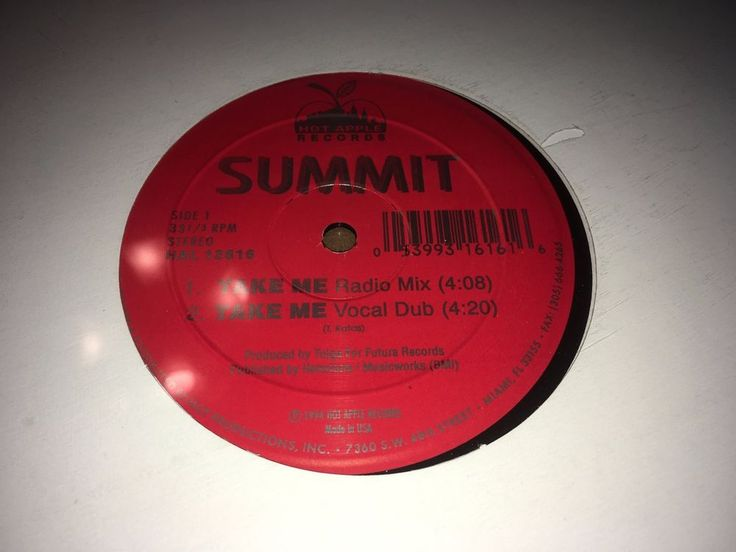 "Summit Take Me Hot Apple Records 1994 12"" Miami Freestyle  #DiscoElectroFunkElectronicaHouseSynthPopFreestyle"