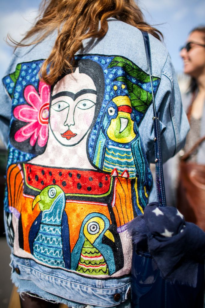 Street style at Paris Fashion Week fall 2017 - painted denim, jean jacket
