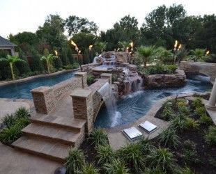 large contemporary backyard lazy river pool with stone coping deck and. beautiful ideas. Home Design Ideas