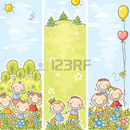 Vertical bambini felici striscioni con lo spazio della copia photo