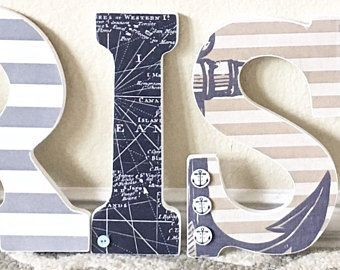 Nautical Wall Letters -Nautical Boy Room Decor, Nautical Baby Shower, Custom Name, Boy Nursery Decor, Kids Wall Art-any color and theme #babyboyroom